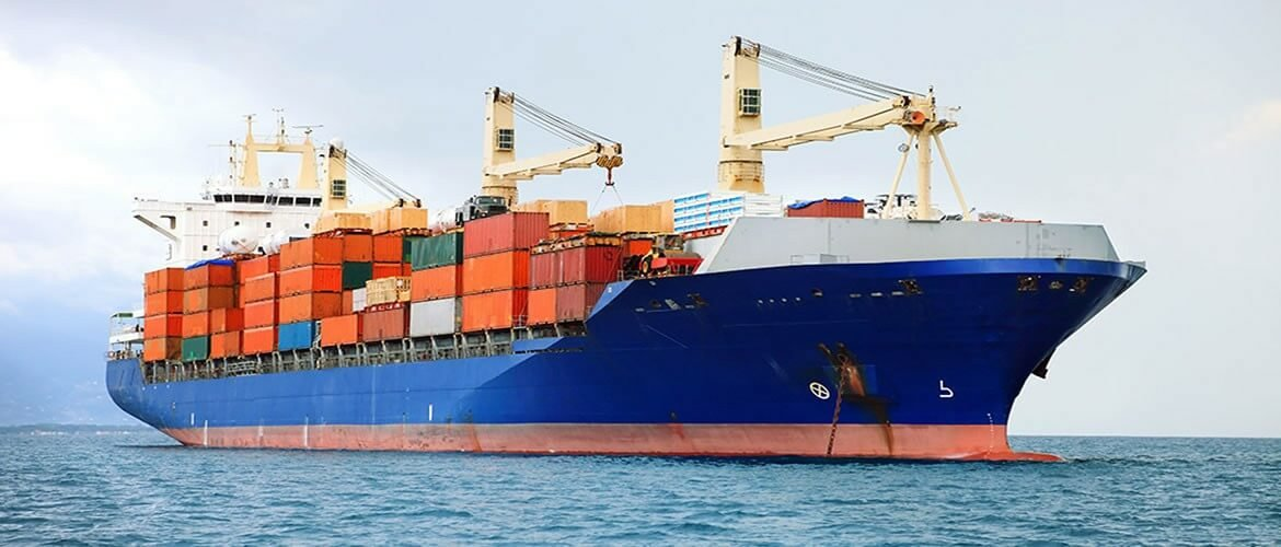 Container ship banner